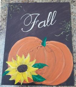 Fall Pumpkin Canvas Painting