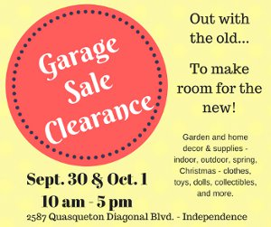 Garage Sale Clearance - September 30 and October 1