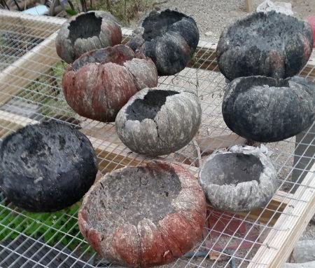 Papercrete Orb Pots